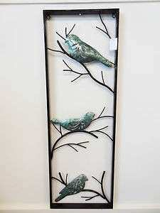 Metal BIRD TREE Lacquered Painting Wall Art VERTICAL