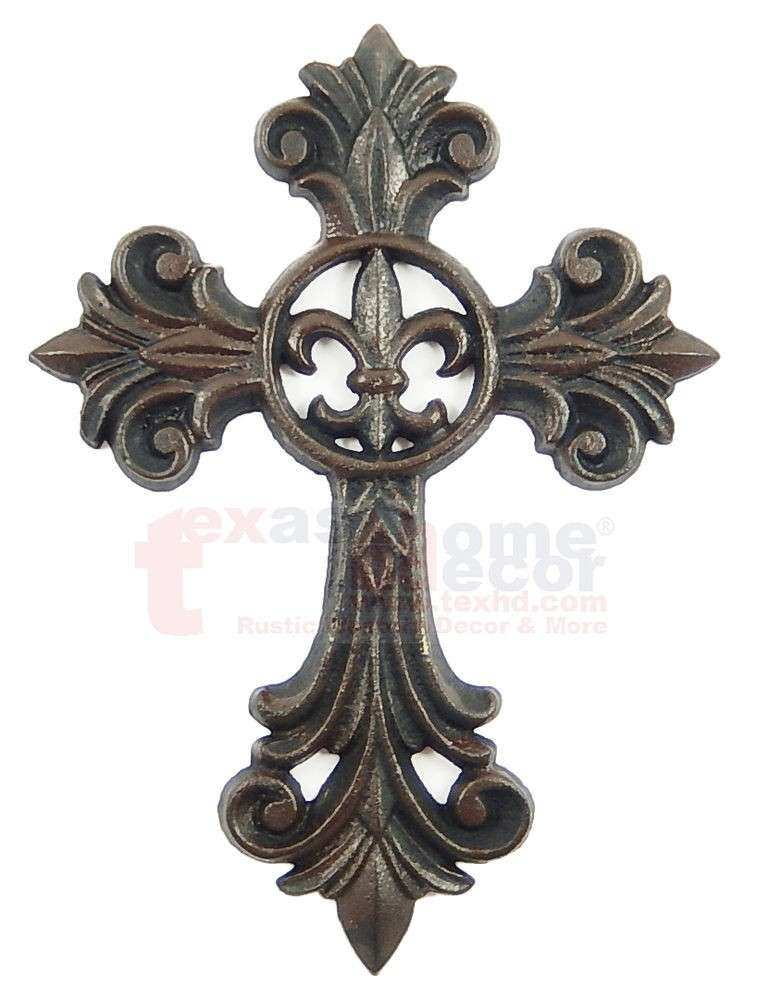 Fleur De Lis Cast Iron Decorative Wall Cross Rustic Brown