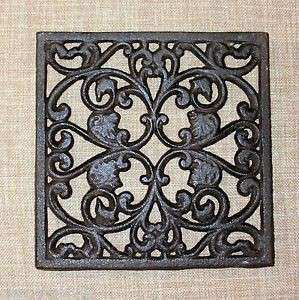 NEW CAST IRON Ornate Square Functional Trivet Wall Decor