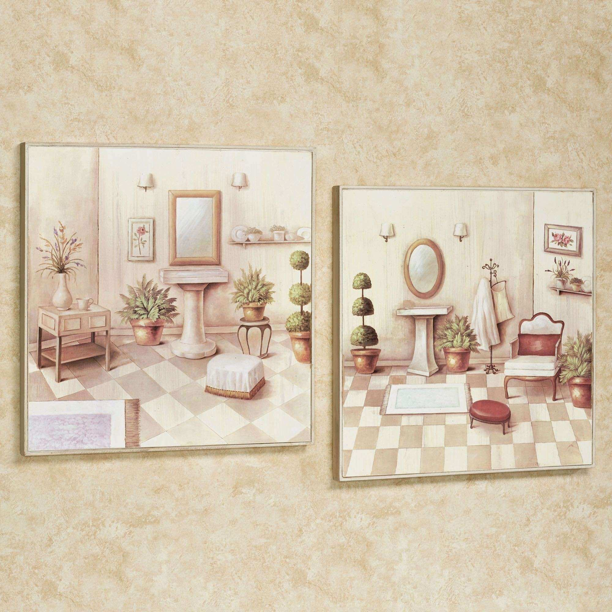 Soothing Retreat Bathroom Scene Wall Art Set