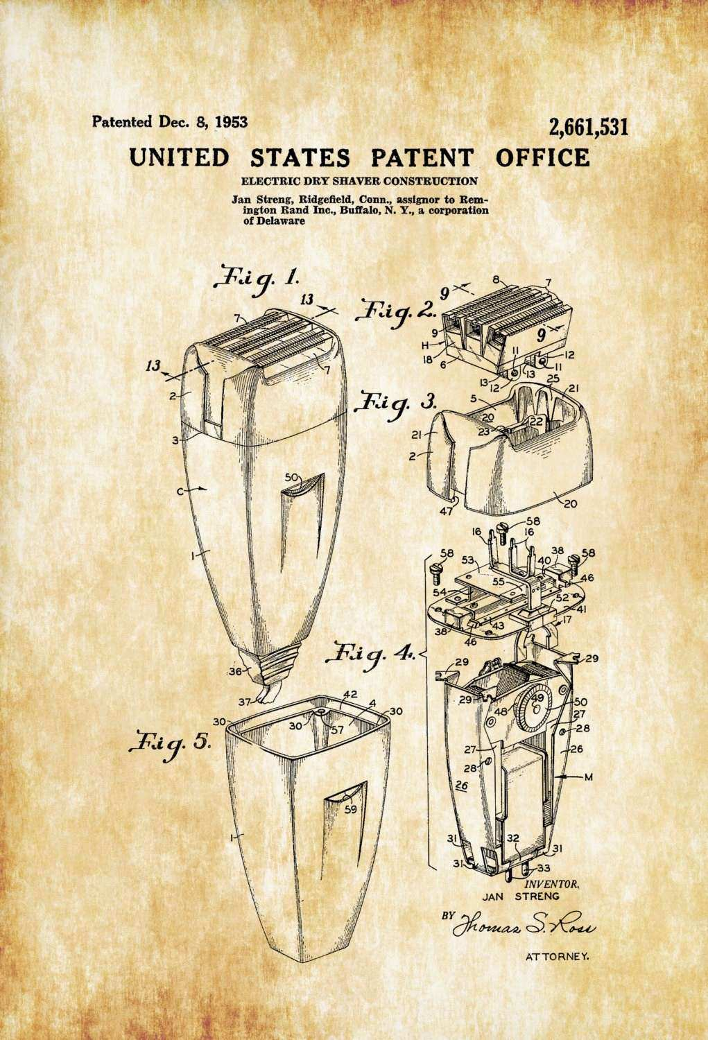Vintage Bathroom Wall Decor New Electric Shaver Patent Patent Print