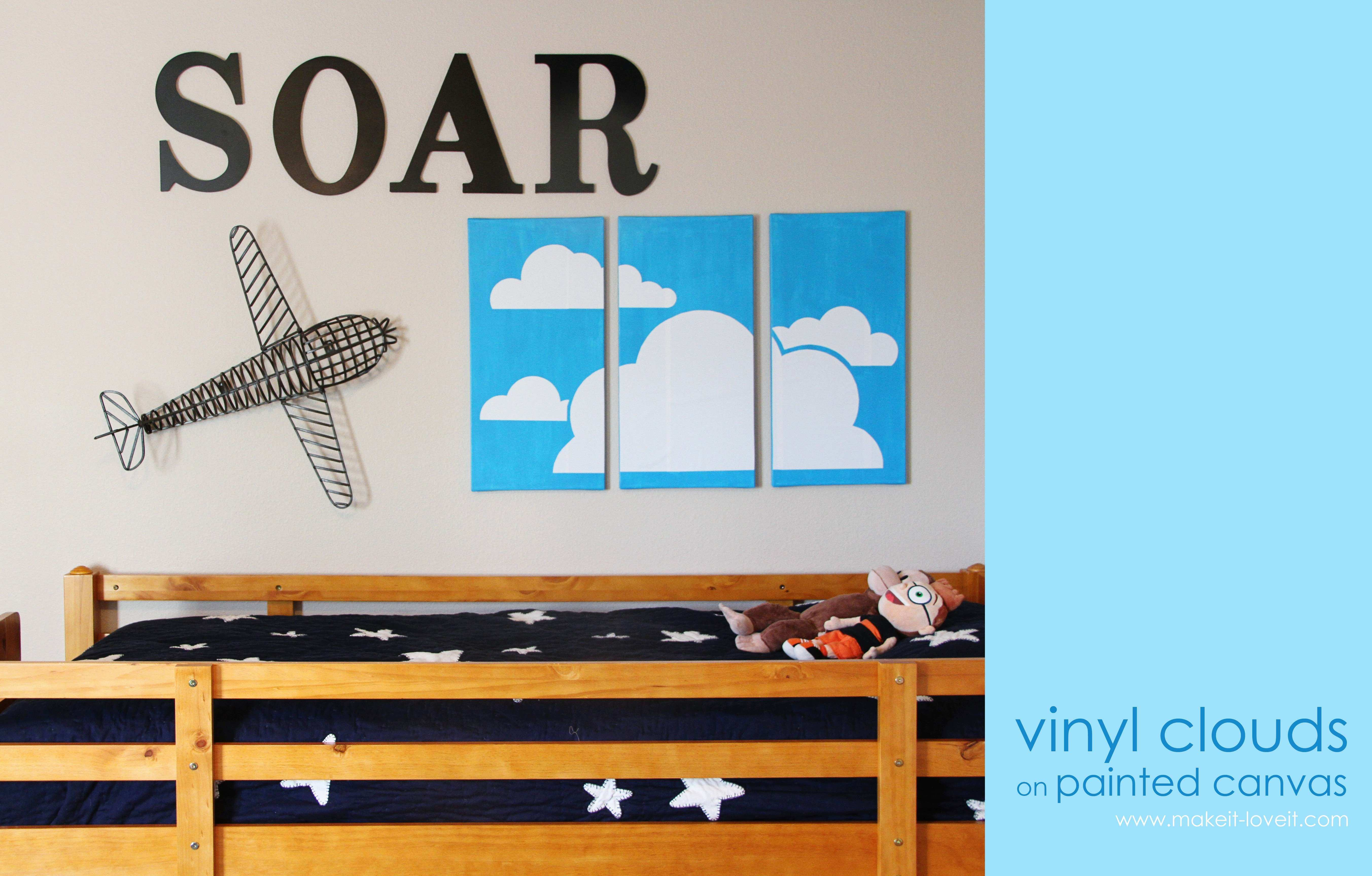 Vinyl Clouds on Painted Canvas boys room wall decor