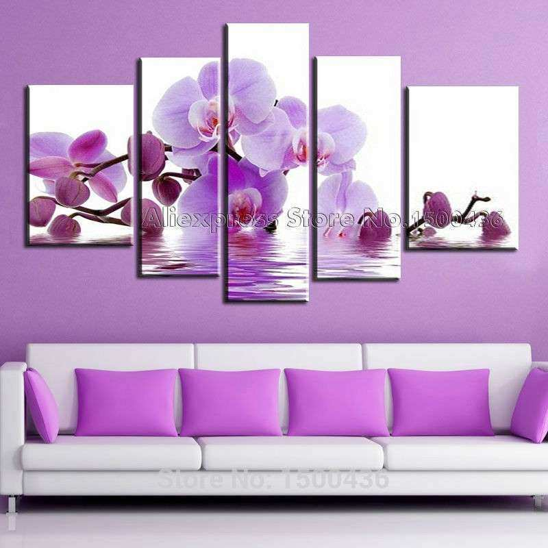 Hand Painted Purple Flowers Paintings Water Side Orchid