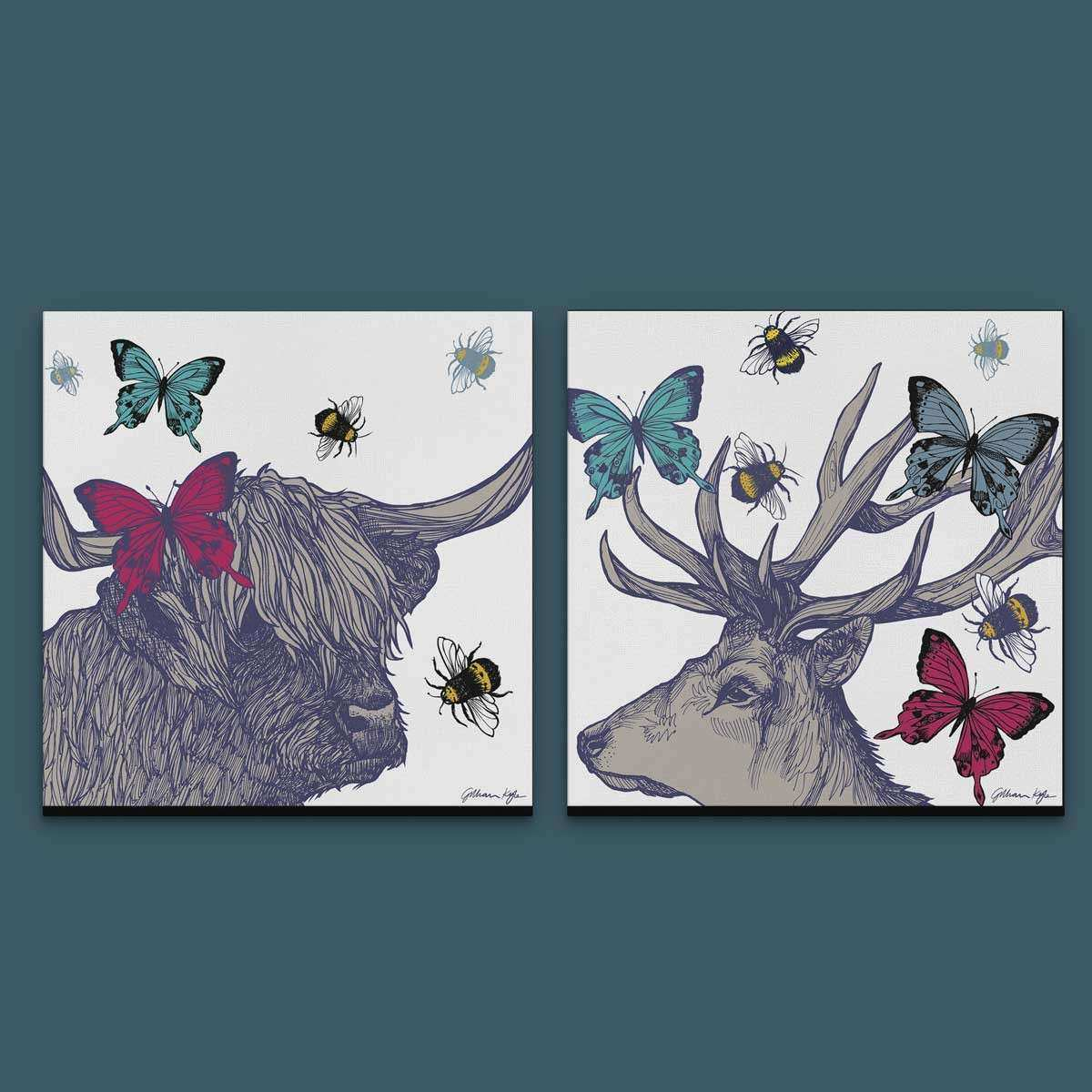 Gillian Kyle Scottish Wall Art Stag and Lola Set of Two