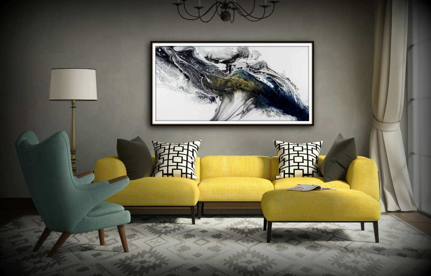 Black and White Wall Art Gift Abstract Painting Print Canvas