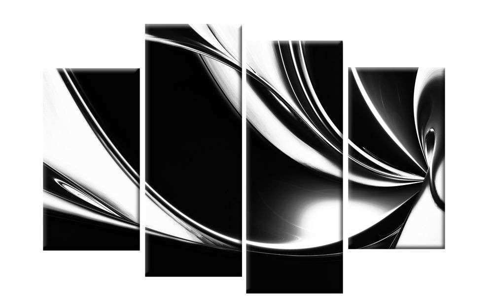 LARGE BLACK WHITE ABSTRACT CANVAS PICTURES WALL ART SPLIT