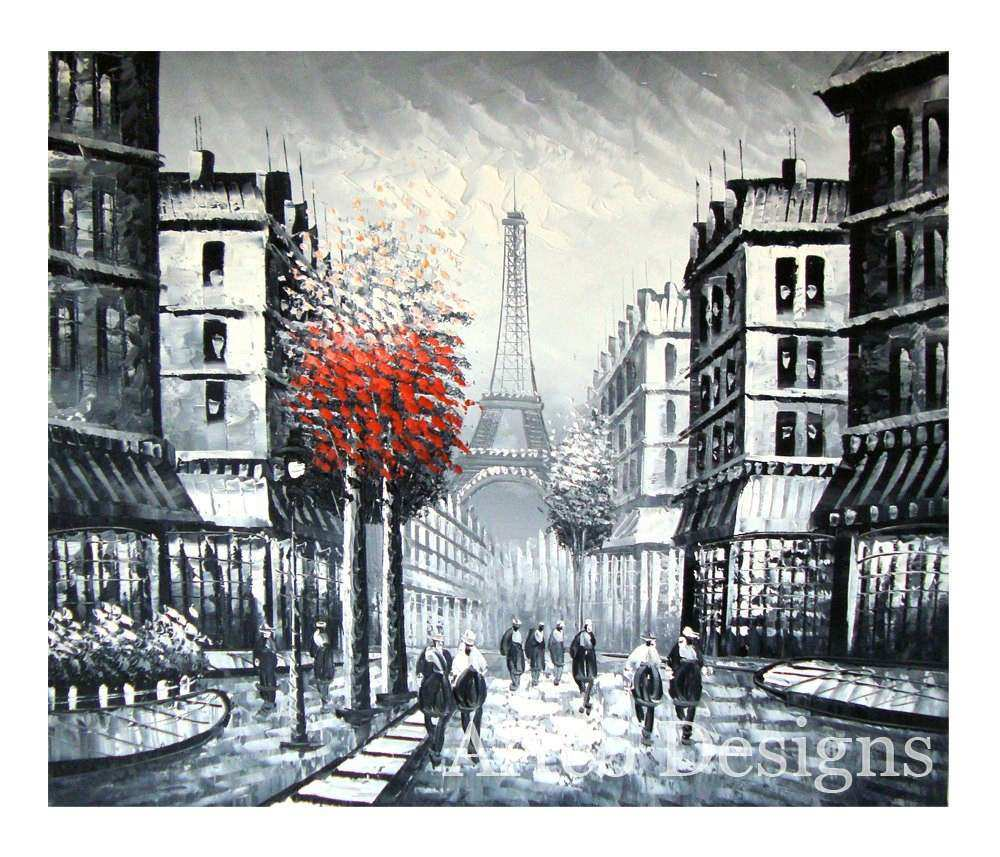 SALE Black and White City Painting Black and White Urban
