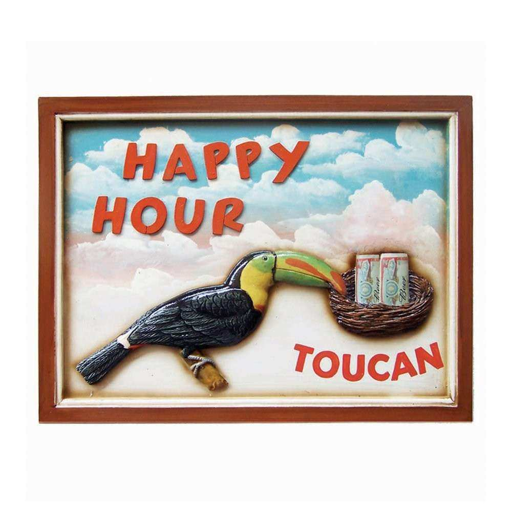 RAM Game Room ODR157 Happy Hour Sign Outdoor Wall Art