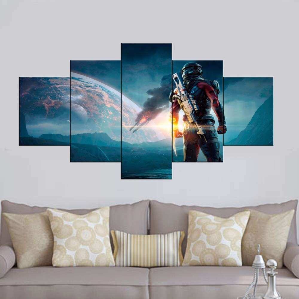 HD Printed 5 piece canvas art mass effect andromeda game