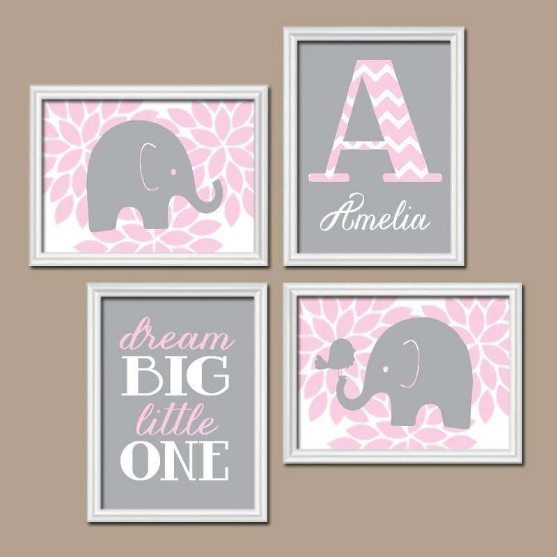 Pink Gray Elephant Nursery Baby Girl Nursery Wall Art Dream