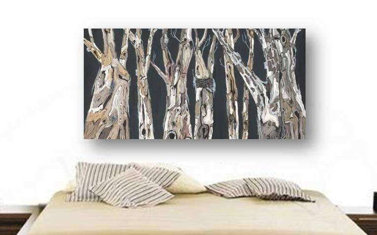 Oversized extra large wall Art Long tree trunks masculine fine