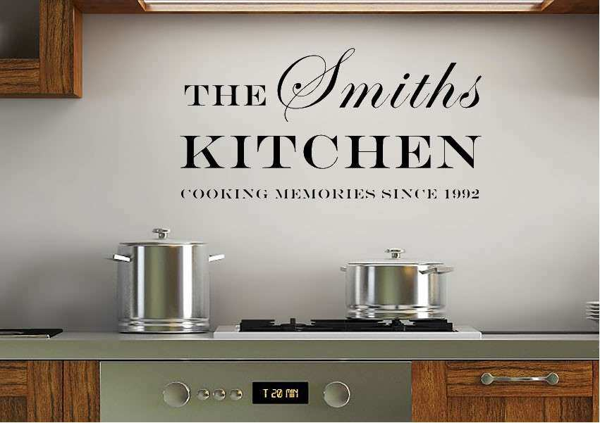 Your Family Name And Date Kitchen White Text Quotes Wall