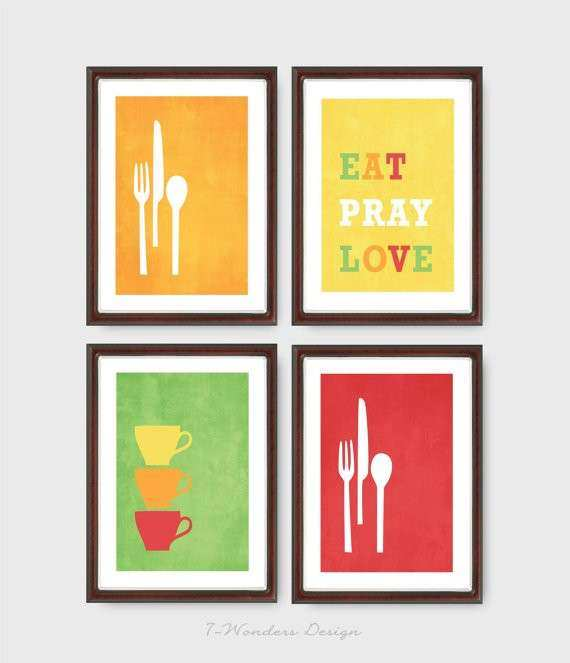 Items similar to Modern Kitchen Wall Art Print Set