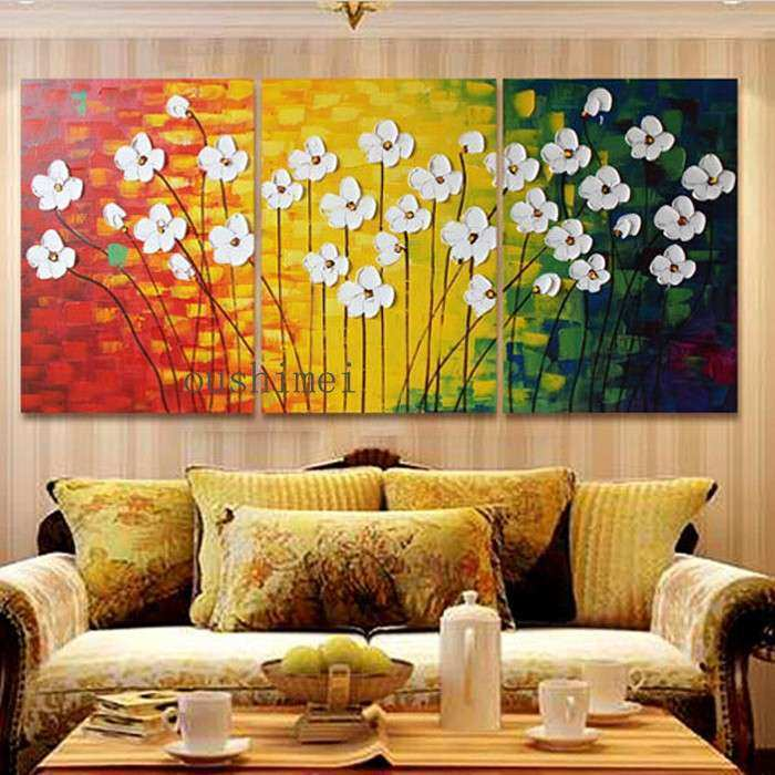 Handmade Modern Oil Painting Canvas Abstract Flowers