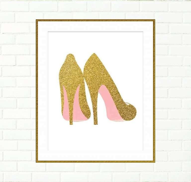 Wall Art Posters Prints Lovely Gold Shoes Print Printable Wall Decor ...