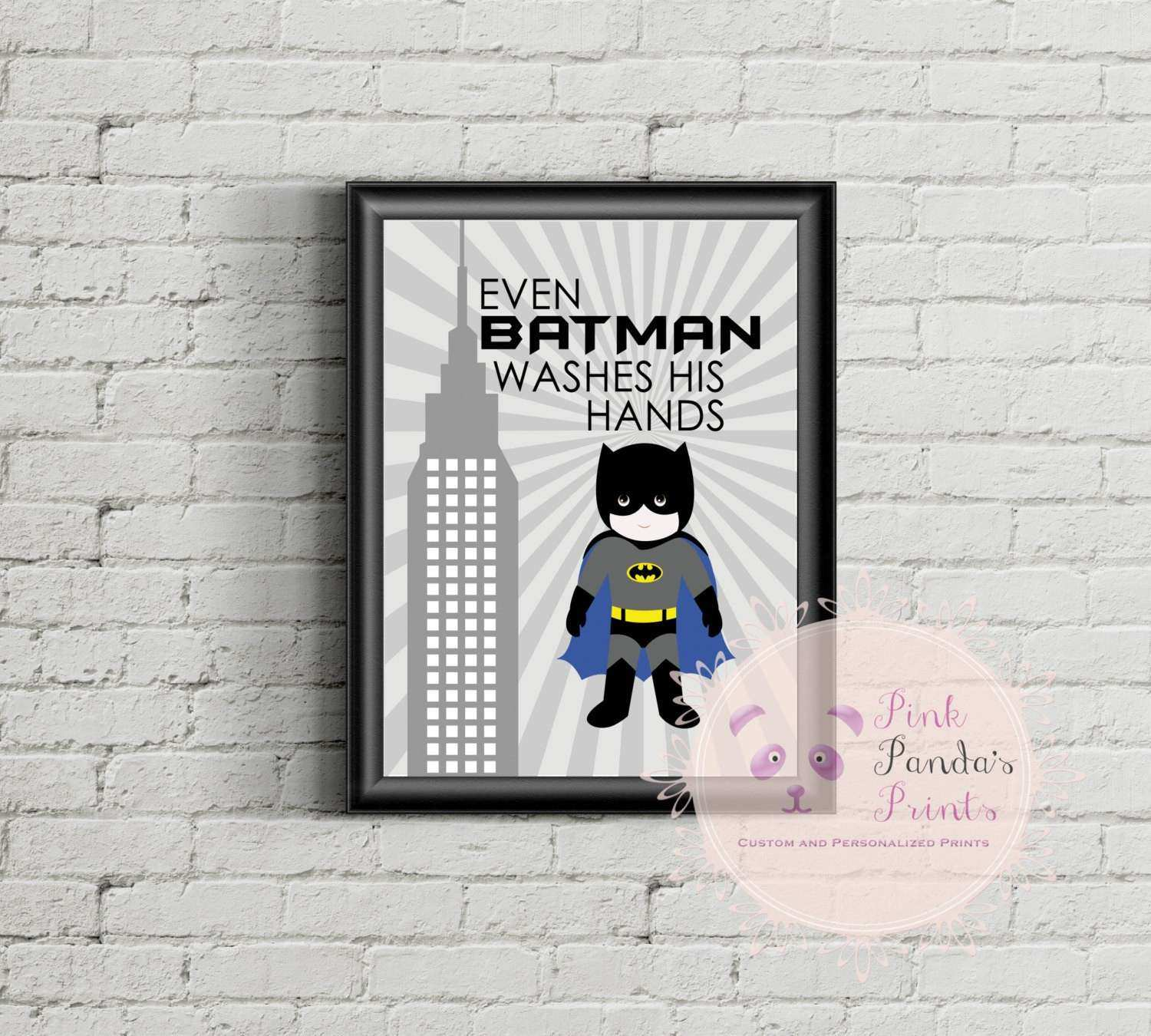 Even Batman Washes His Hands Super Hero Print wall art