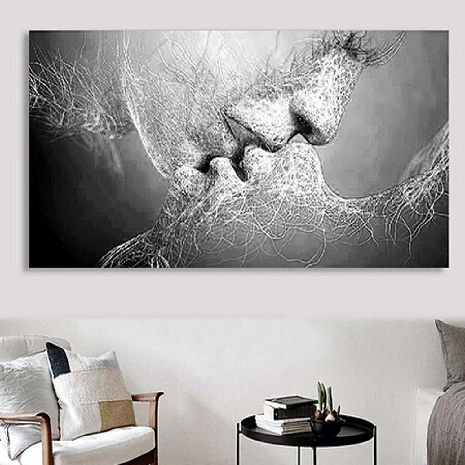 "Amazon 40""x 24"" Fashion Black & White Love Kiss Abstract Art on"