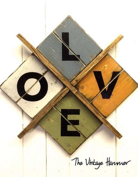 Love wall art wood sign sayings rustic decor hand painted