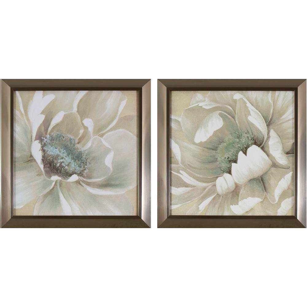 Decor Therapy 14 in x 14 in Antiqued White Flowers