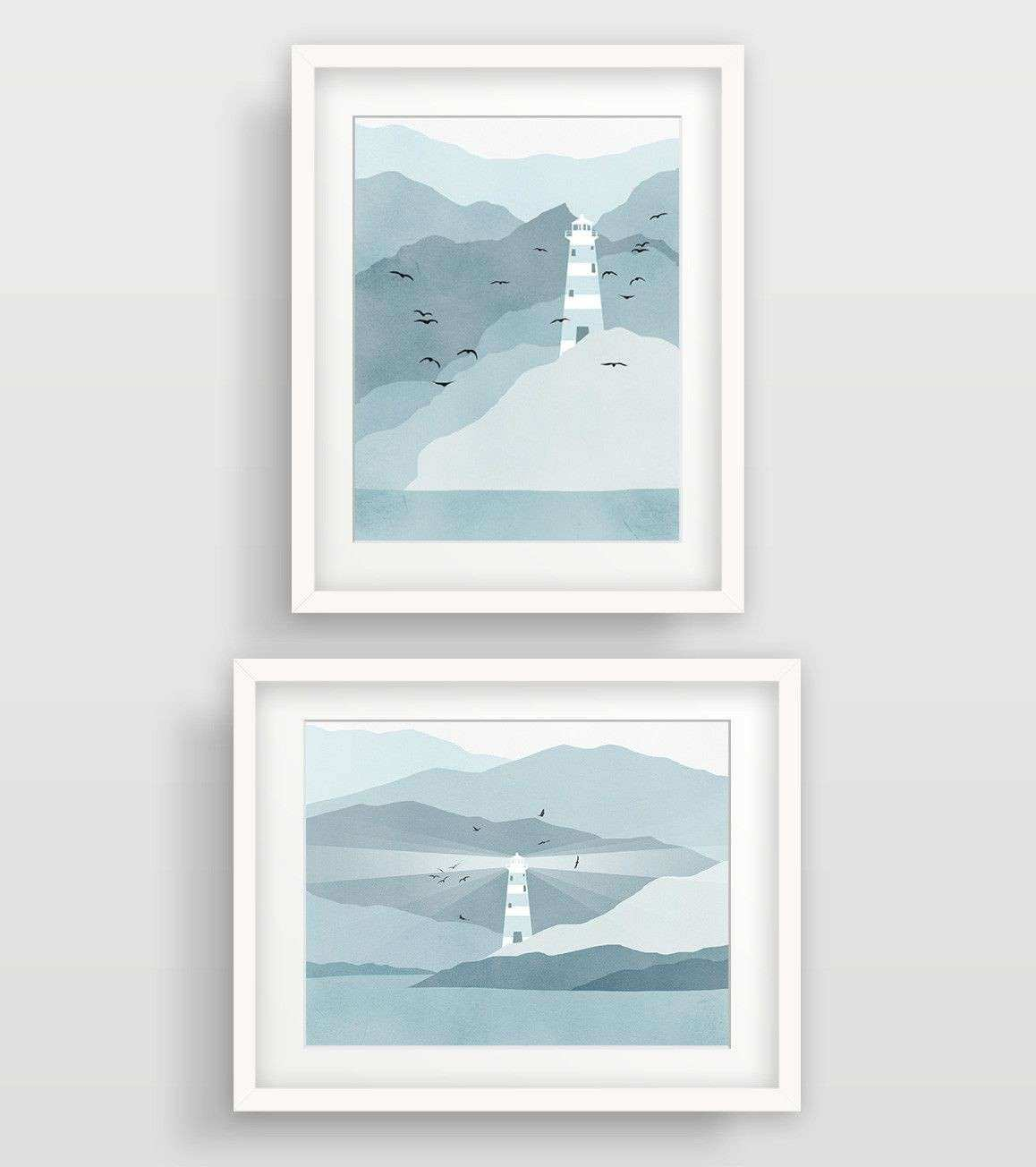 Lighthouse Nautical Decor In Teal And Grey Wall Art Set