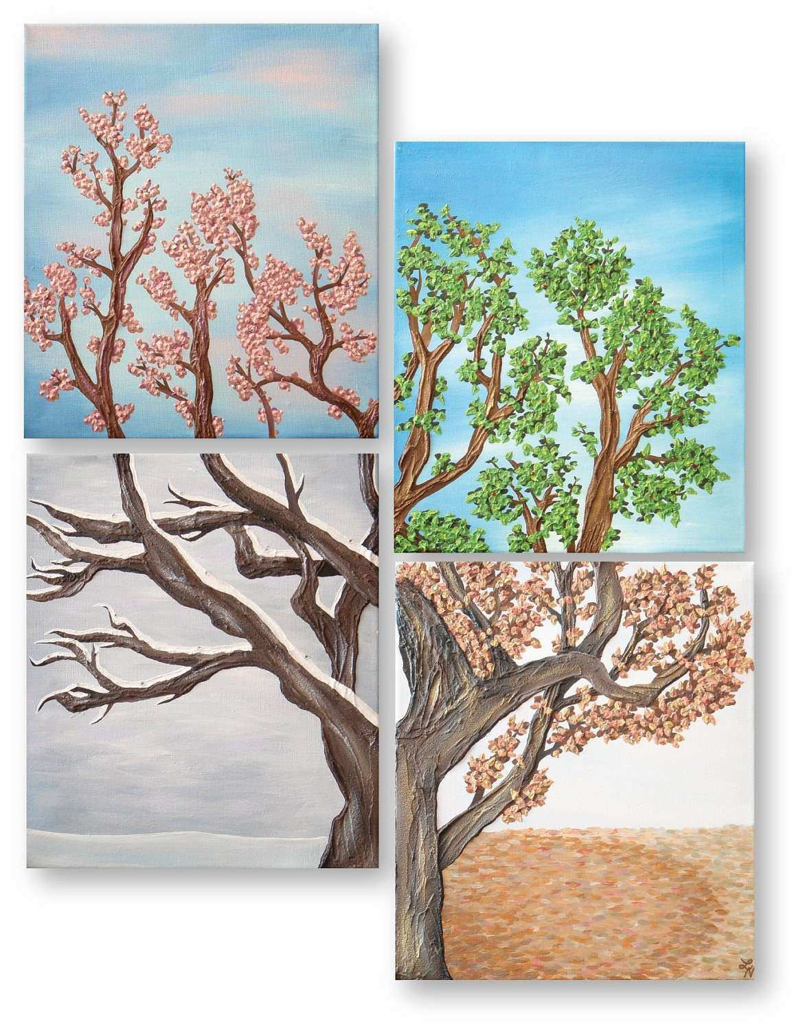 Four Seasons Tree Wall Art Painting Set Four by
