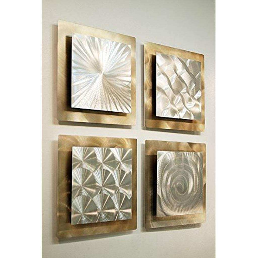 Set of 4 Silver & Gold Metal Wall Art Accent Sculpture
