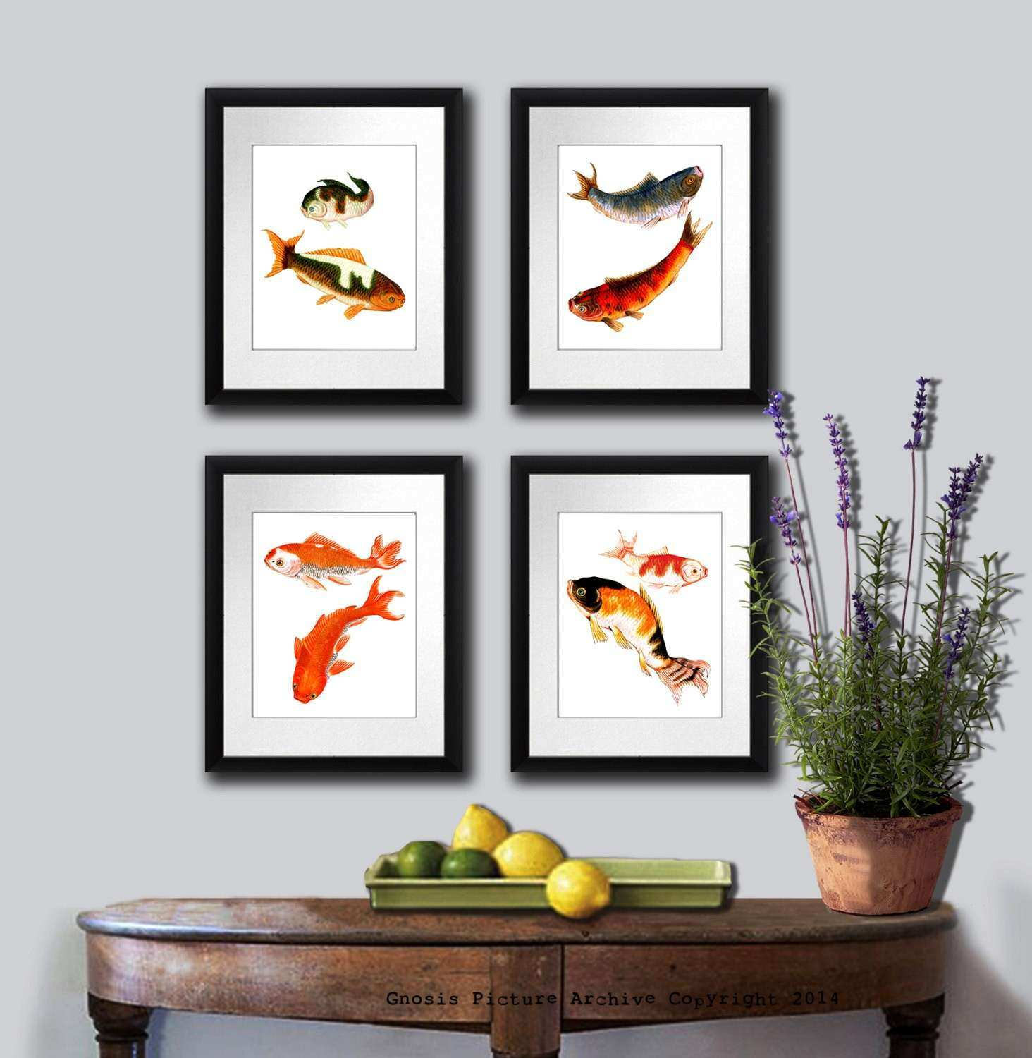 Zen Wall Art Fish Art Print set of 4 Koi fish art prints