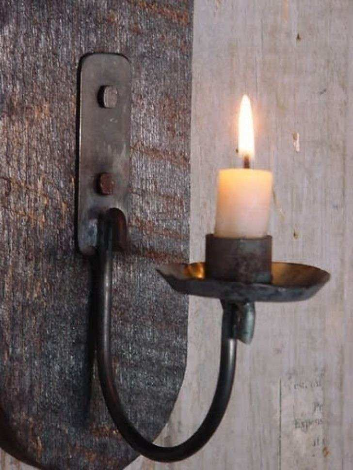 Sconce Wrought Iron Hurricane Wall Candle Sconces Wooden