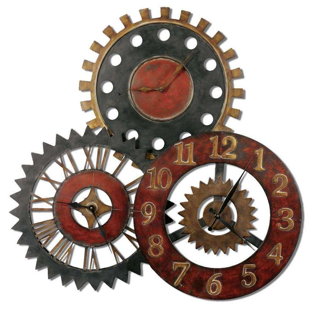 Rusty Movements Wall Clock Three Different Time Zones