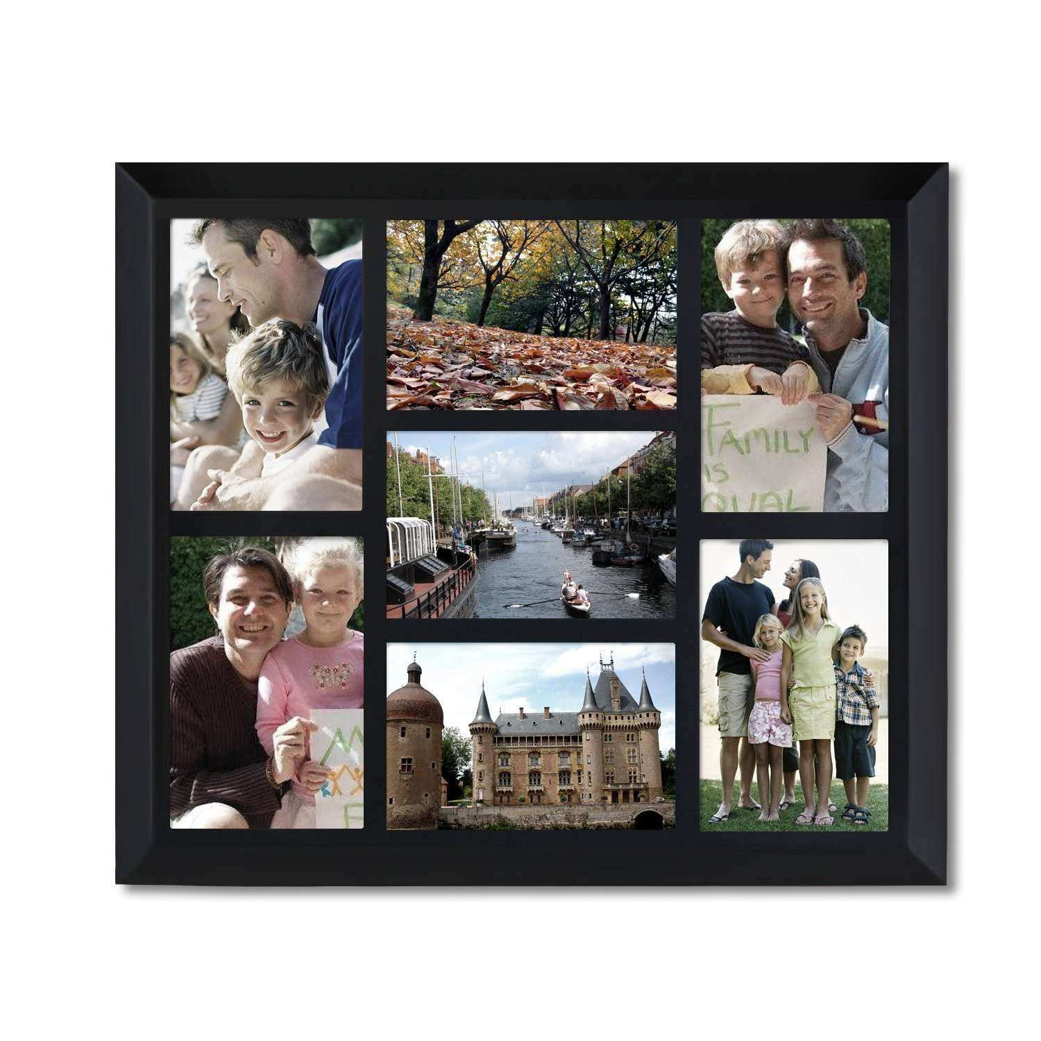 Adeco Decorative Black Wood Wall Hanging Collage Picture Frame