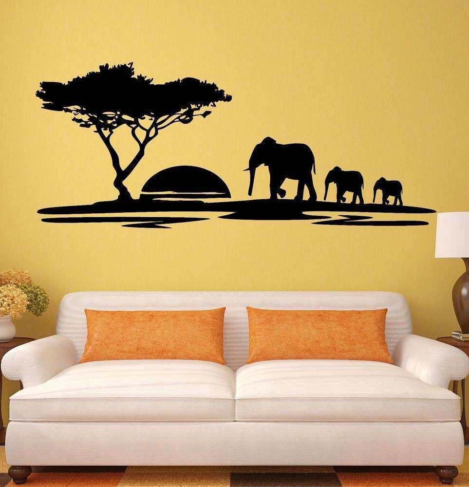 Wall Decor Decal Inspirational Wall Stickers Elephant African ...