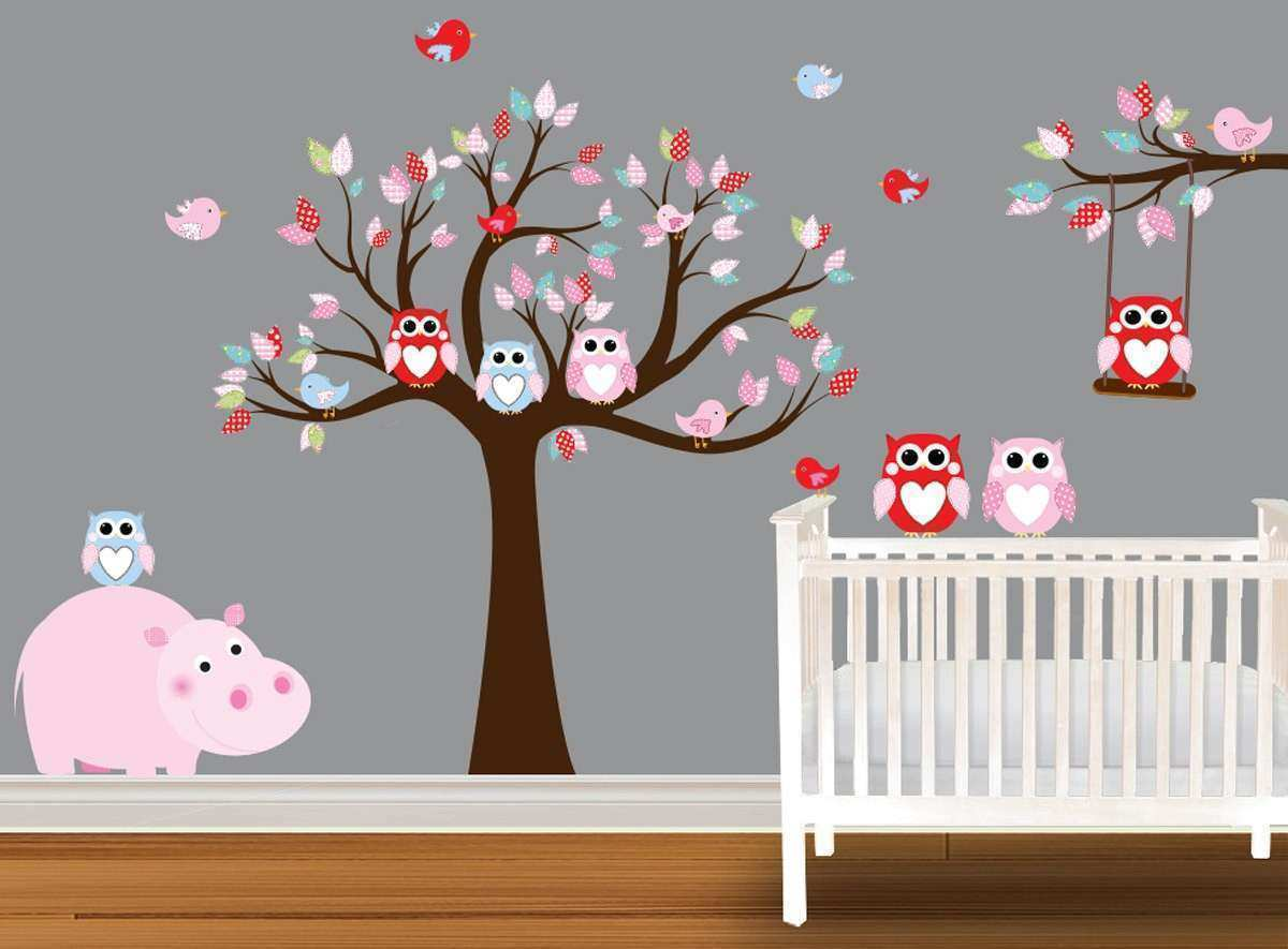 Delightful Wall Decor For Baby Rooms Lovely Owl Wall Decals For Kids Room Owl Wall  Decals Designed