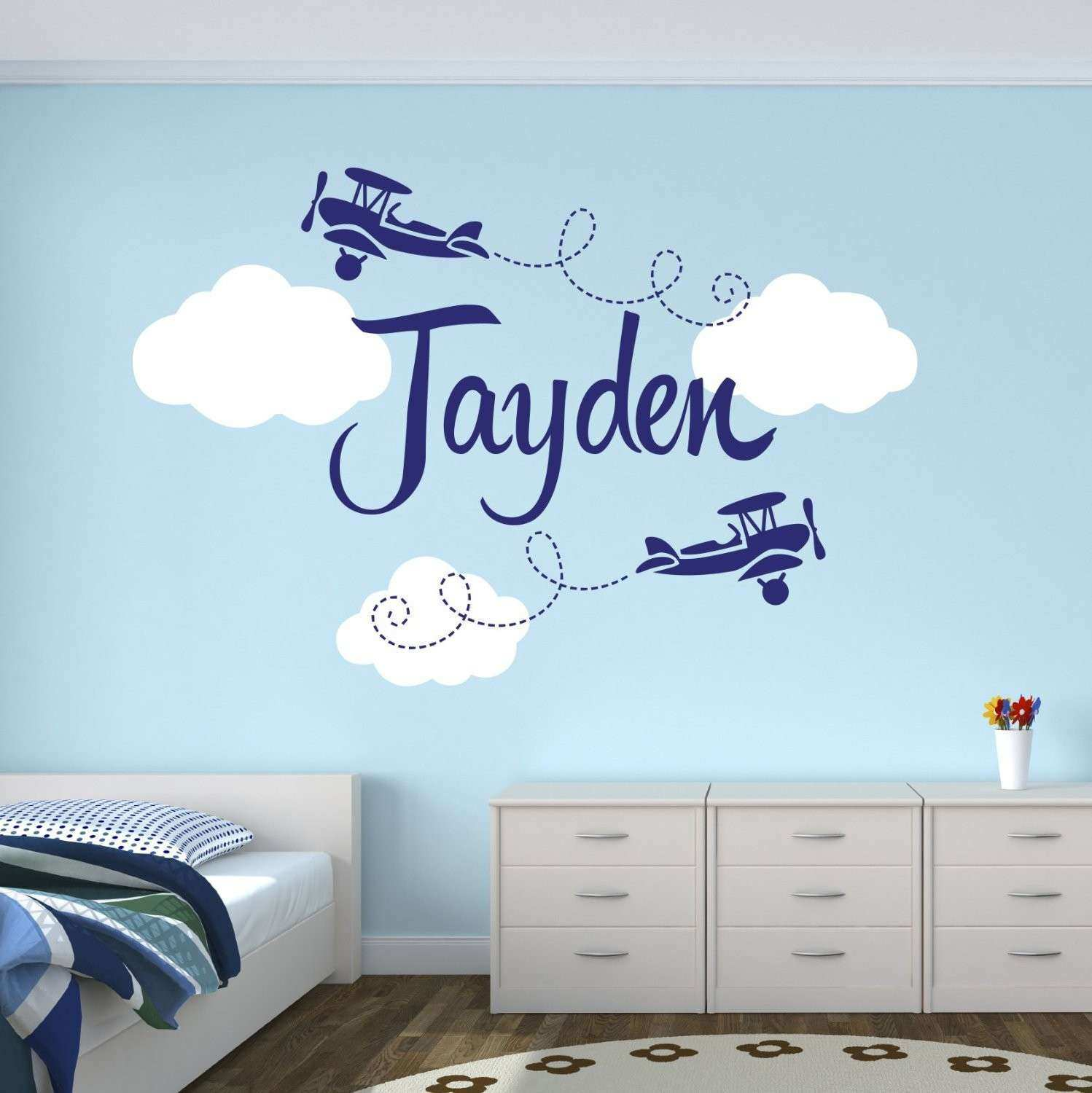 Personalized Airplane Name Clouds Decal Nursery Decor Home