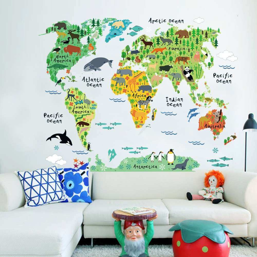 Aliexpress Buy Vinyl Animal World Map Wall Sticker
