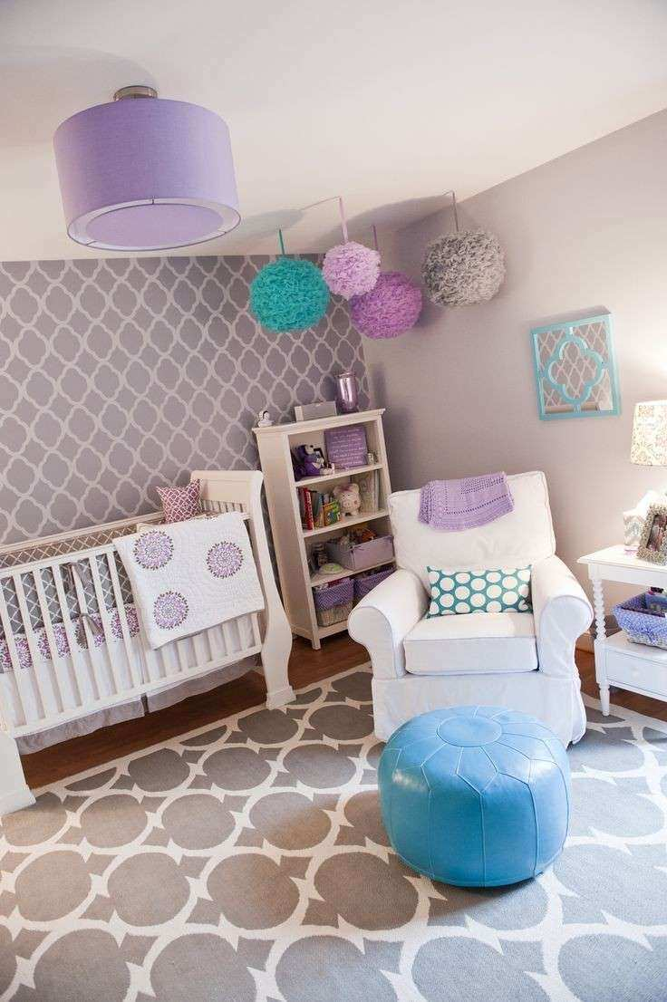 Gray purple teal pink nursery this would be so