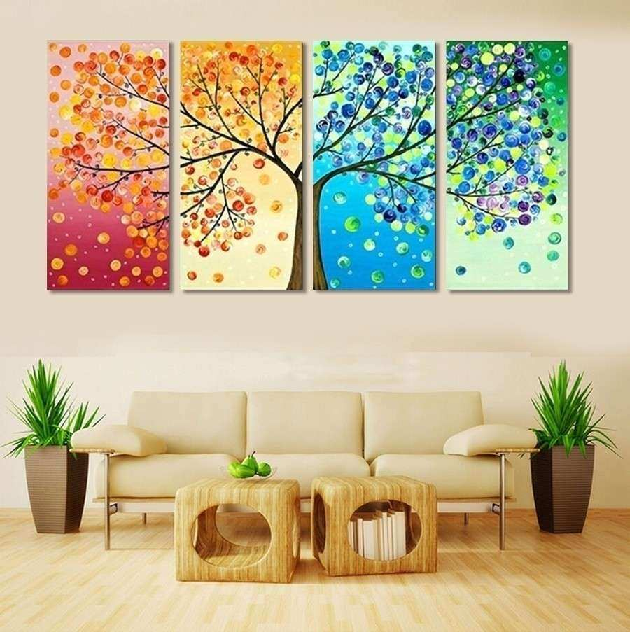 4 Piece Frameless Colourful Leaf Trees Canvas Painting