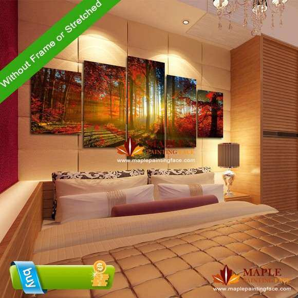 5 Panel Forest Painting Canvas Wall Art Picture Home