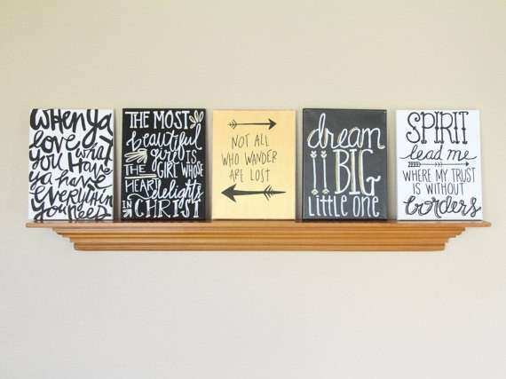 Canvas Painting Quotes Set Black Gold & White Handmade
