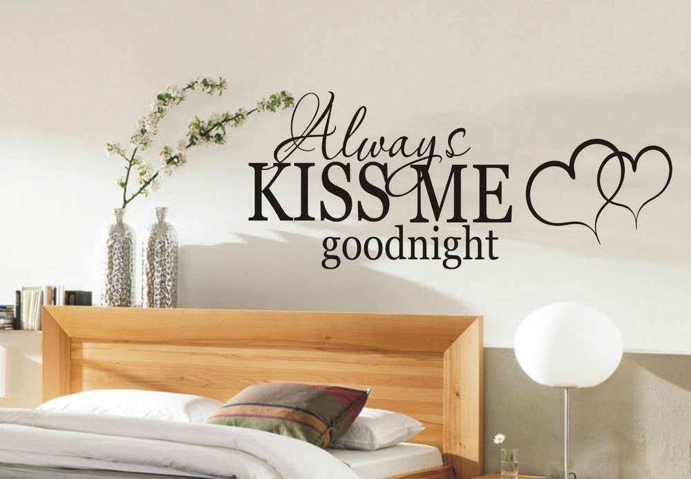 Wall Decor Sayings Beautiful Always Kiss Me Goodnight Wall Sticker Quote Bedroom  Wall