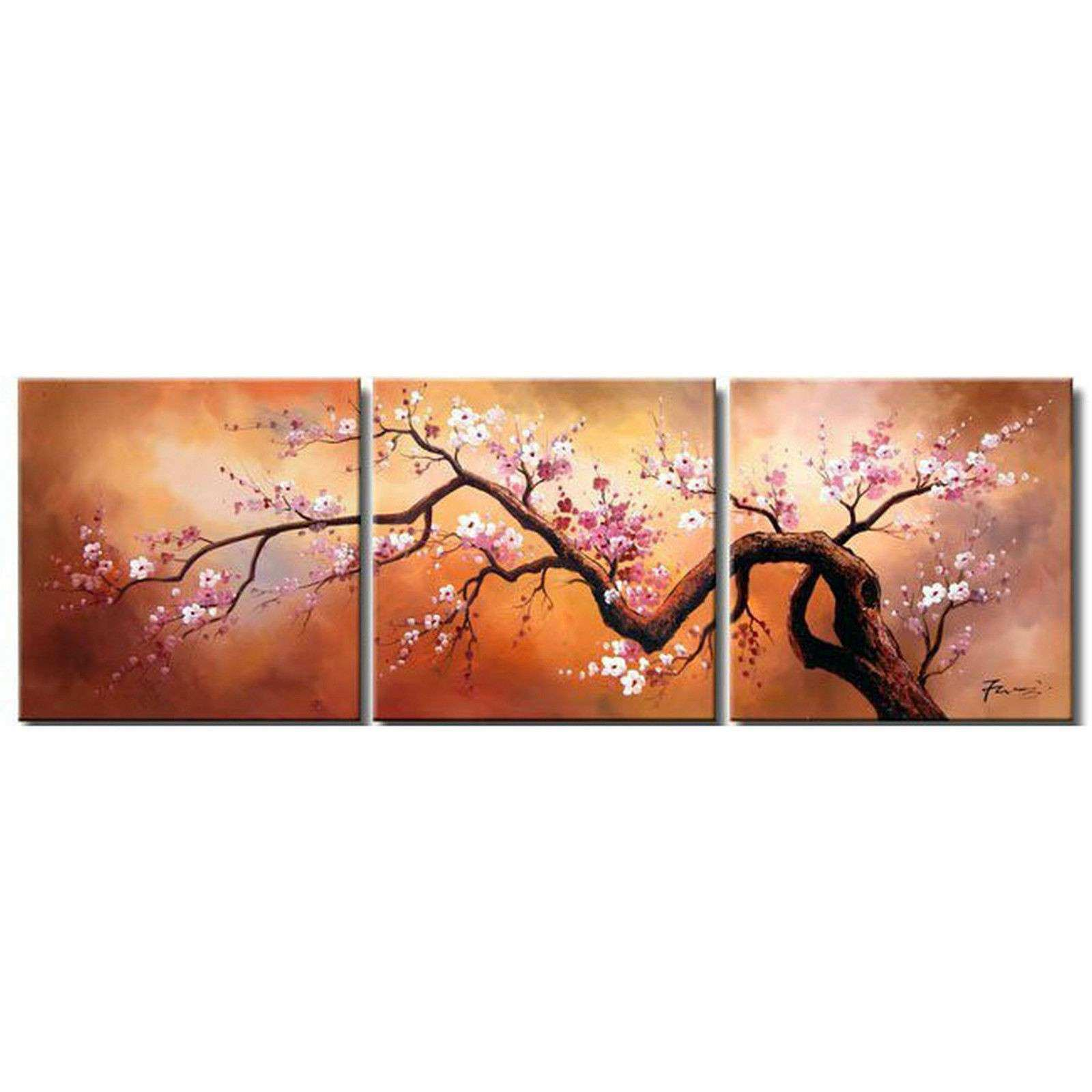 3 pieces Modern Abstract Art Oil Painting Wall Decor Tree
