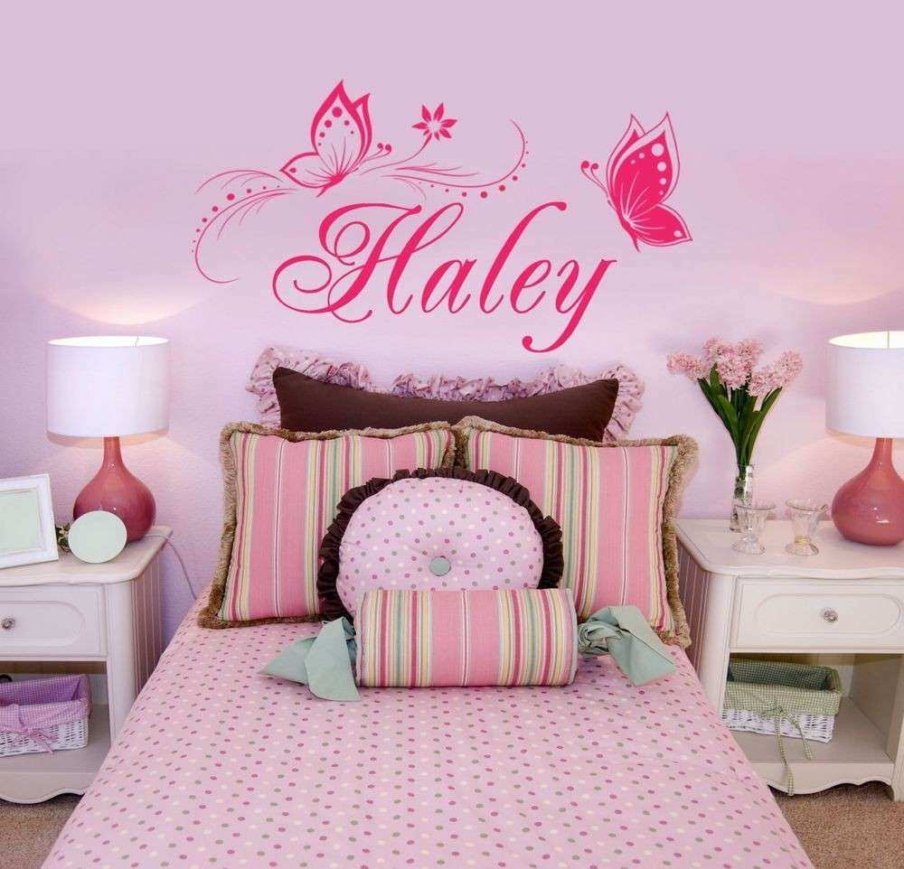 Personalized Name & Butterflies Vinyl Wall Decal Sticker