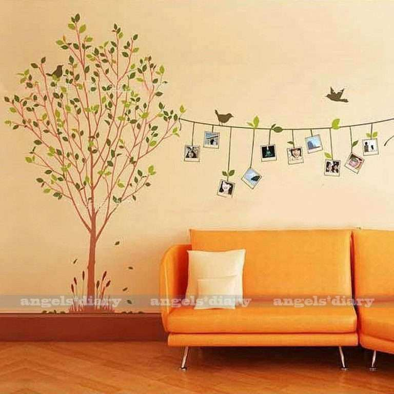 Wall Decor Stickers for Bedroom Fresh Removable Frame Tree Vinyl Art ...