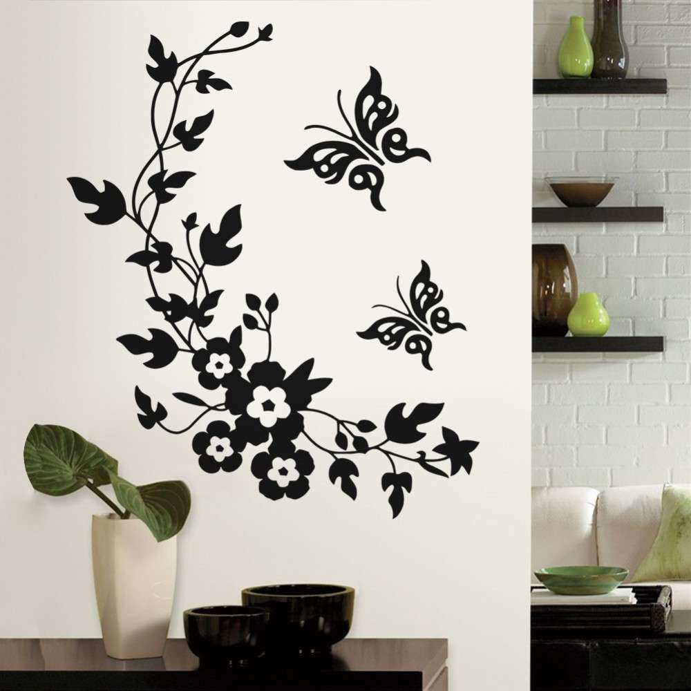 Wall Decor Stickers For Living Room Elegant 3d Butterfly Flowers