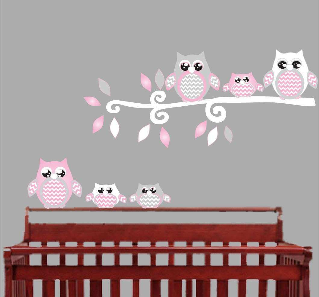Pink Owl Wall Decals Owl Stickers Owl Nursery Wall Decor