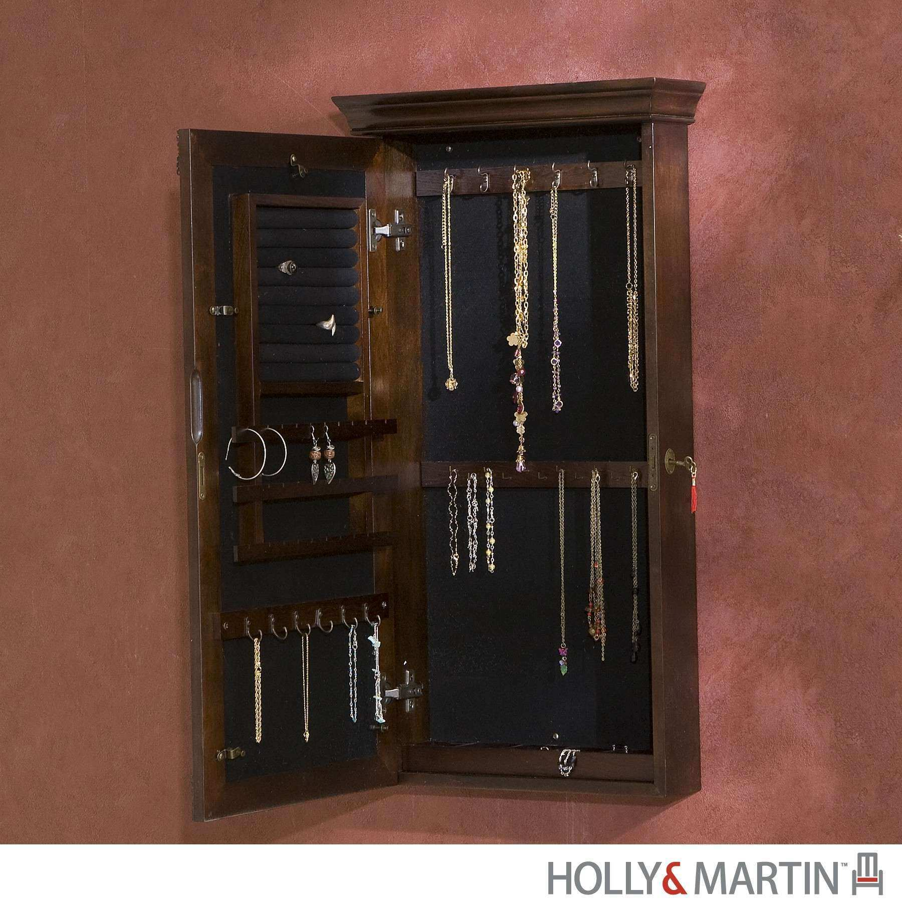 Decor & Tips Cute Wall Mount Jewelry Armoire With Interior Paint