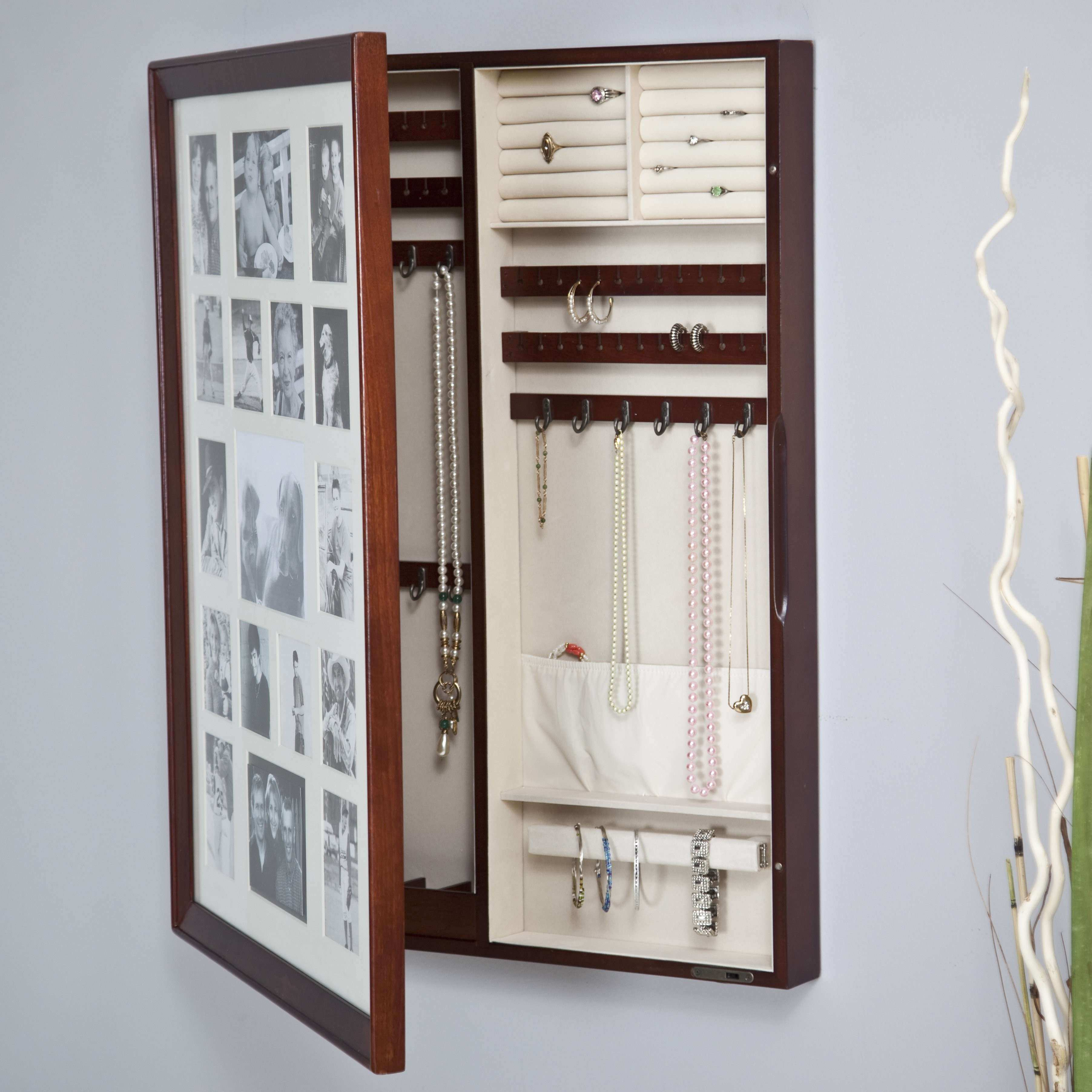 Collage Frame Wooden Wall Locking Jewelry Armoire 23W x 30H