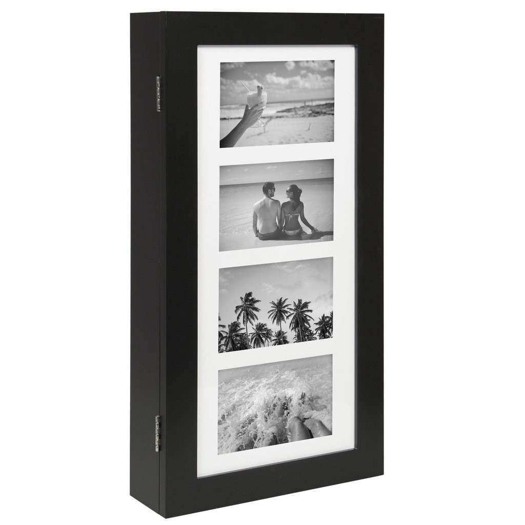 Wall Mount Jewelry Armoire Cabinet w 4 Picture Frames