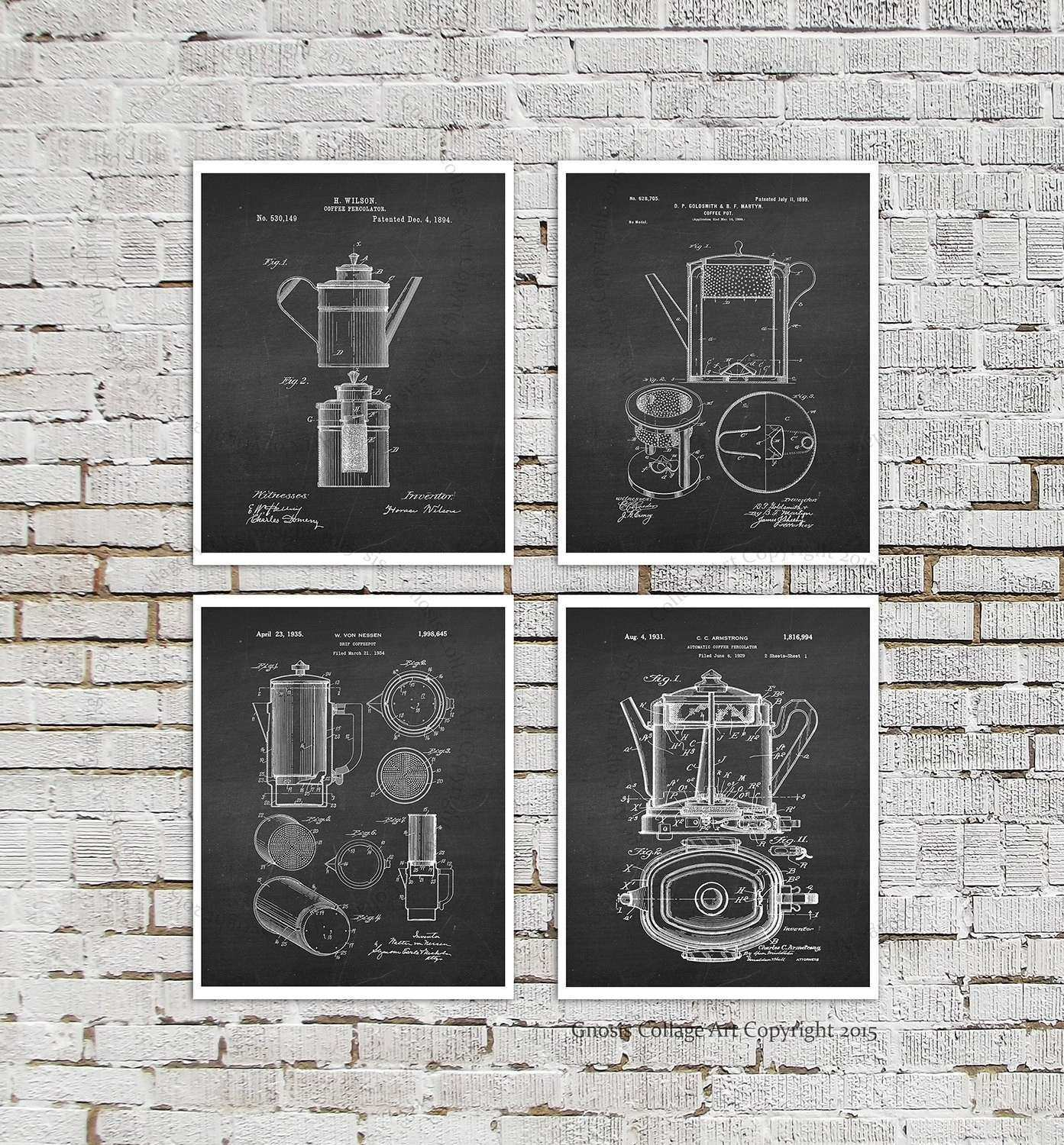 Kitchen Wall Decor Set Prints Cafe By Gnosiscollageart