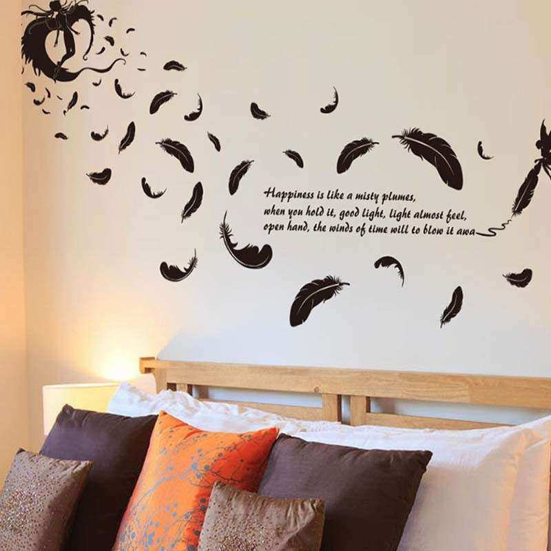 2016 New Creative 3D Flying feather wall sticker home