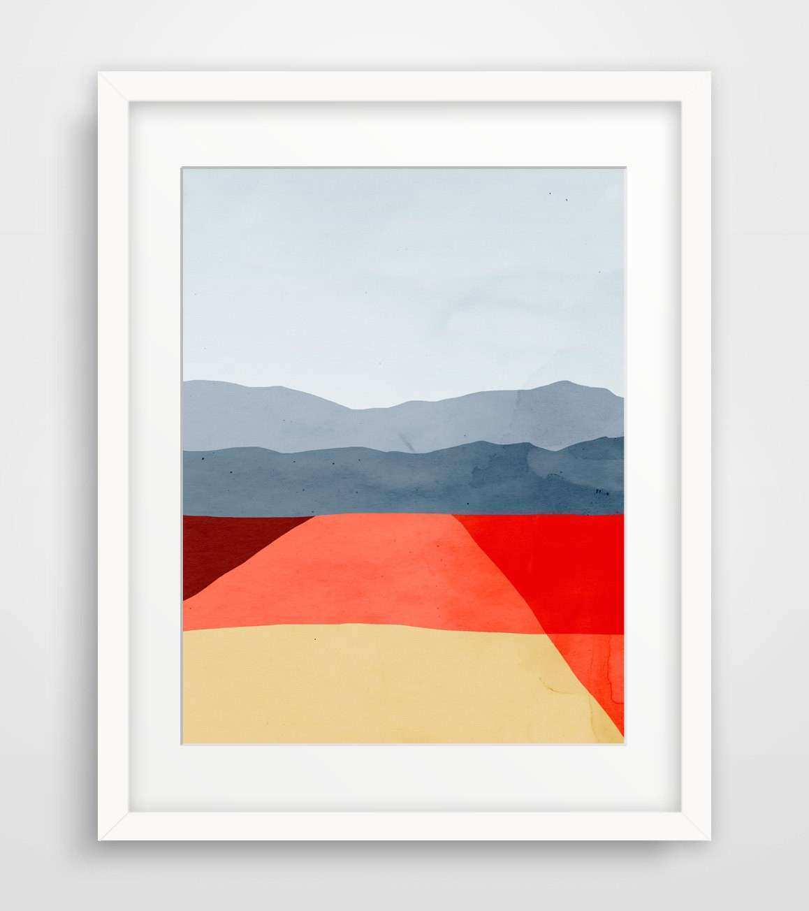 Mid Century Modern Art Print Red Abstract Wall Art Gift for